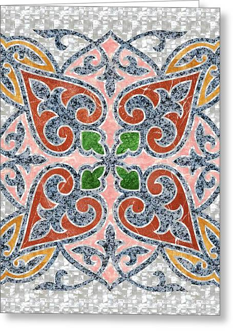 Blue Oriental Tile 03 Greeting Card