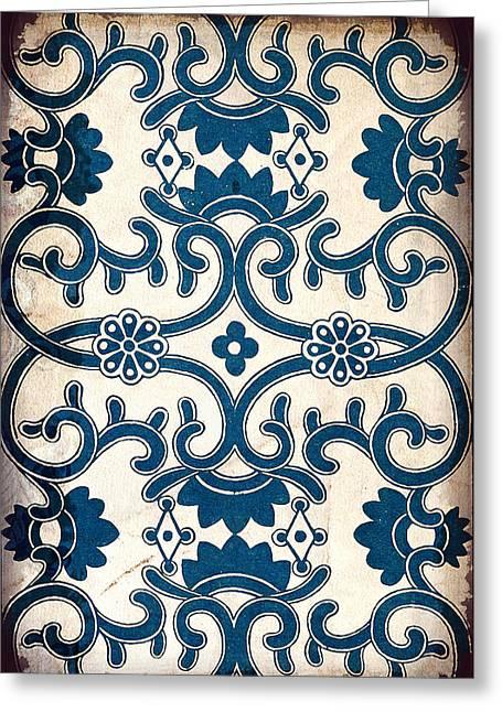 Blue Oriental Vintage Tile 02 Greeting Card