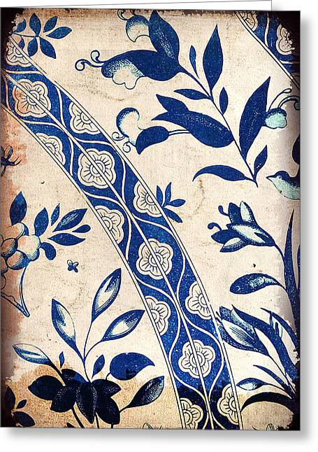 Blue Oriental Vintage Tile 04 Greeting Card