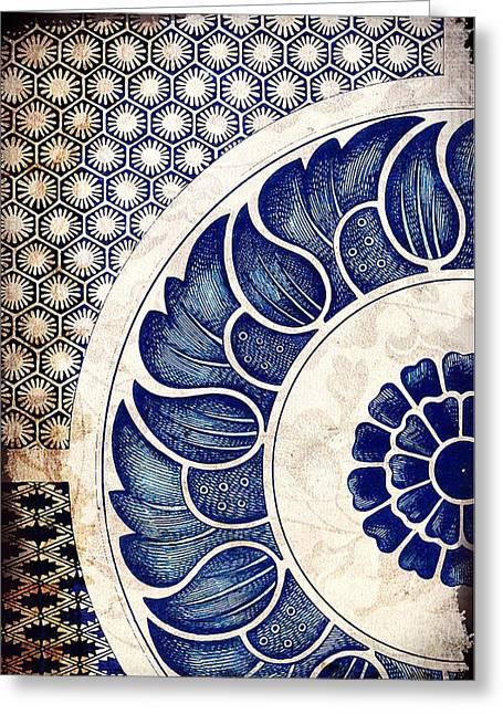 Blue Oriental Vintage Tile 05 Greeting Card