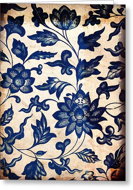 Blue Oriental Vintage Tile 06 Greeting Card