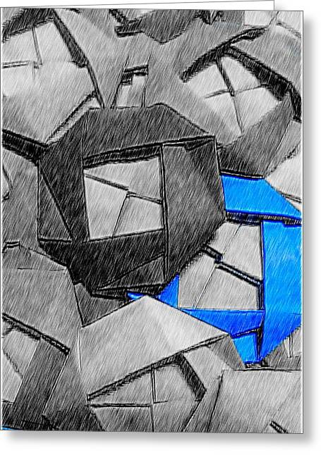 Blue Origami Rose Greeting Card