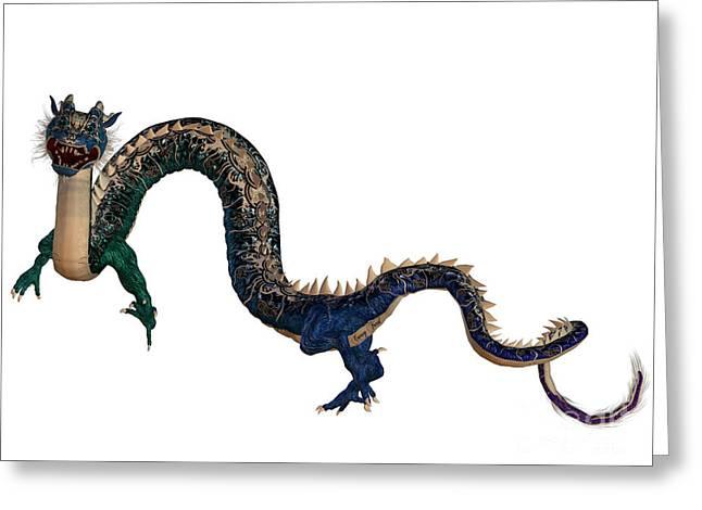 Blue Ornamental Dragon Greeting Card by Corey Ford