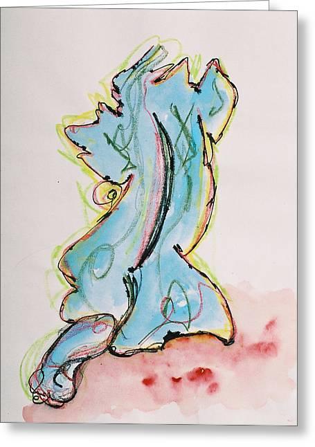 Blue Greeting Card by Oudi Arroni
