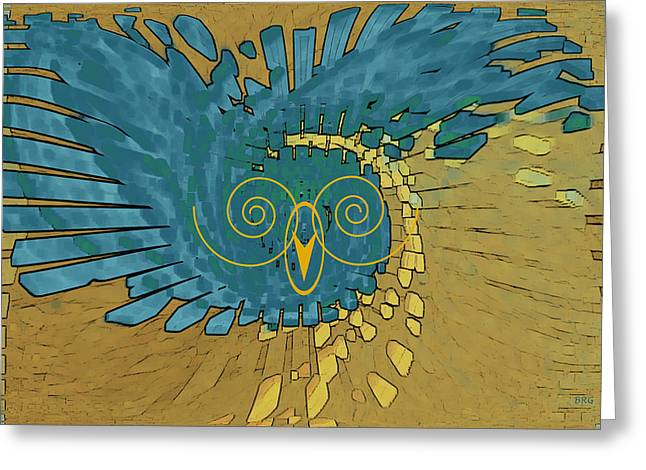 Abstract Blue Owl Greeting Card