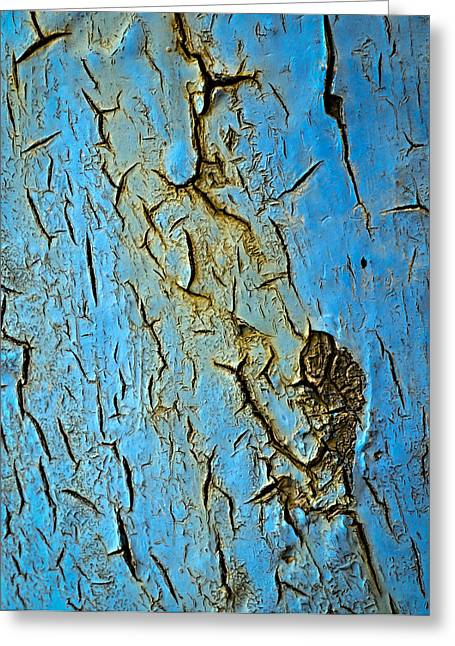 Blue  Paint Scratched The Iron Greeting Card by Jozef Jankola