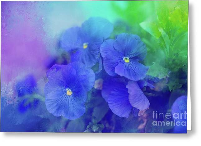 Blue Pansies Greeting Card by Eva Lechner