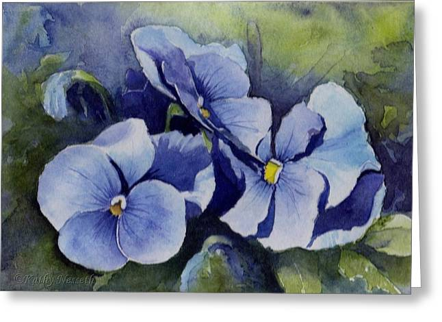Blue Pansies Greeting Card by Kathy Nesseth