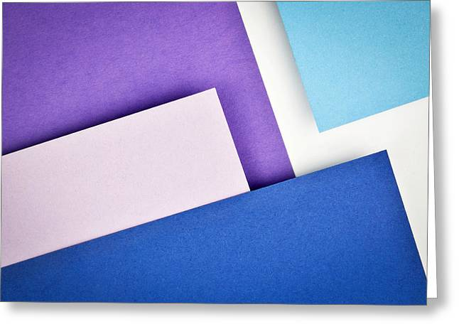Blue Paper Slanting Over Each Other Greeting Card by Jozef Jankola