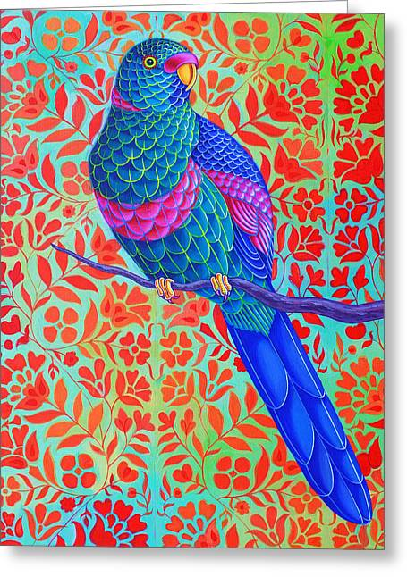 Blue Parrot Greeting Card by Jane Tattersfield