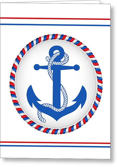 Blue Patriotic Anchor Greeting Card
