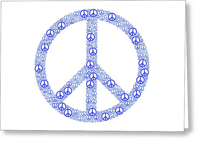 Blue Peace Sign Greeting Card