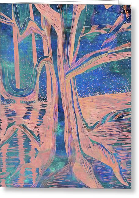 Blue-peach Dawn River Tree Greeting Card