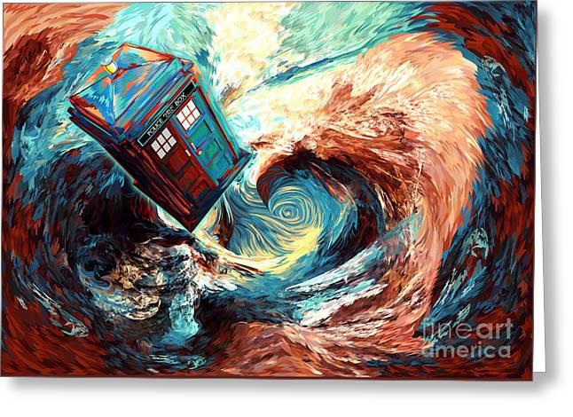 blue Phone booth jump into dark time vortex Greeting Card