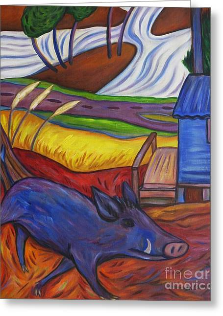 Blue Pig By Blue Hut Greeting Card