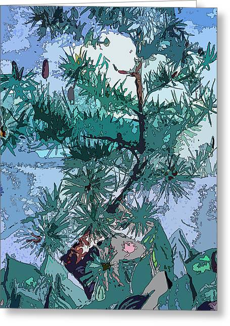 Blue Pine  Greeting Card by Mindy Newman
