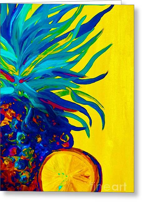 Blue Pineapple Abstract Greeting Card by Eloise Schneider