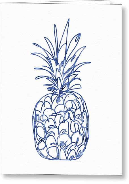 Blue Pineapple- Art By Linda Woods Greeting Card by Linda Woods
