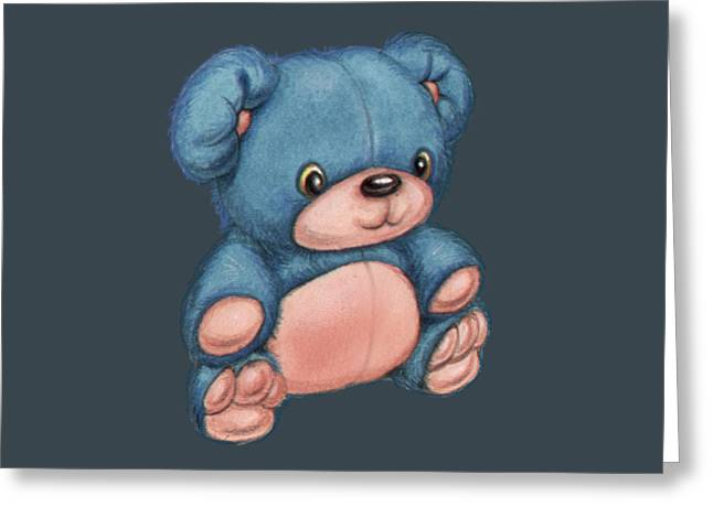 Blue Pink Bear Greeting Card by Andy Catling