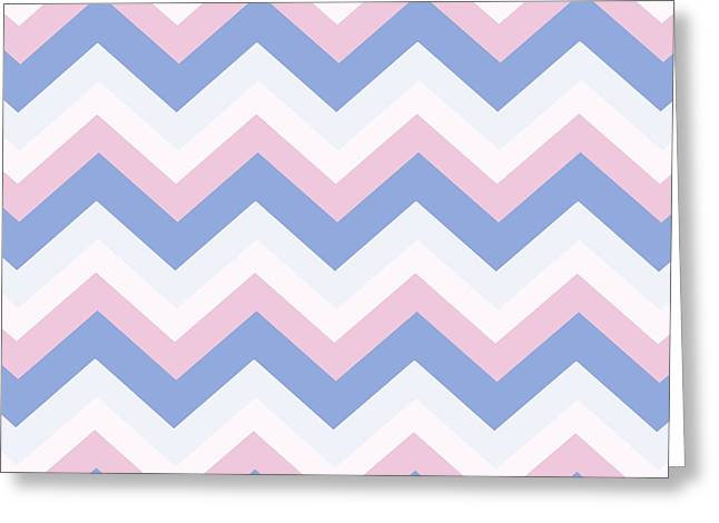 Blue Pink Chevron Pattern Greeting Card