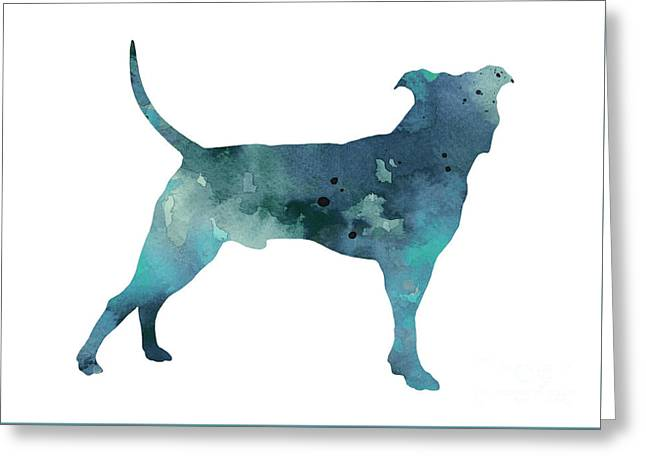 Blue Pit Bull Watercolor Art Print Painting Greeting Card by Joanna Szmerdt
