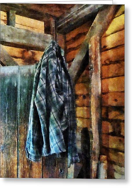 Blue Plaid Jacket In Cabin Greeting Card