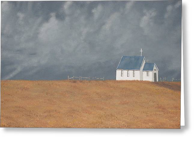 Blue Plains Church Greeting Card by Candace Shockley