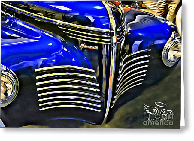 Greeting Card featuring the photograph Blue Plymouth Coupe by Beauty For God