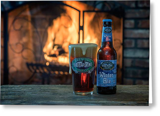 Blue Point Winter Ale By The Fire Greeting Card by Rick Berk