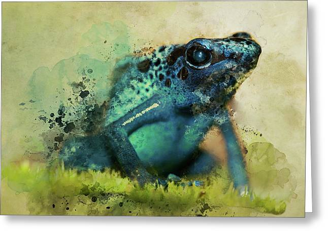 Blue Poisonous Frog Greeting Card