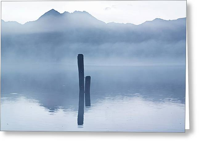 Greeting Card featuring the photograph Blue Poles Kinloch Nz by Odille Esmonde-Morgan