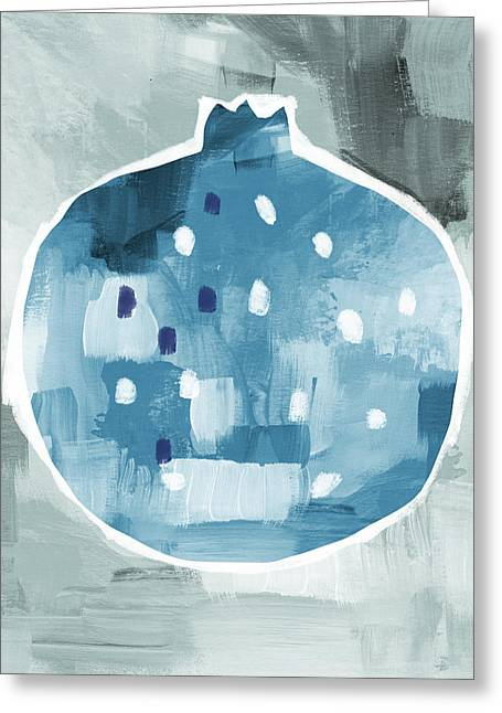 Blue Pomegranate- Art By Linda Woods Greeting Card