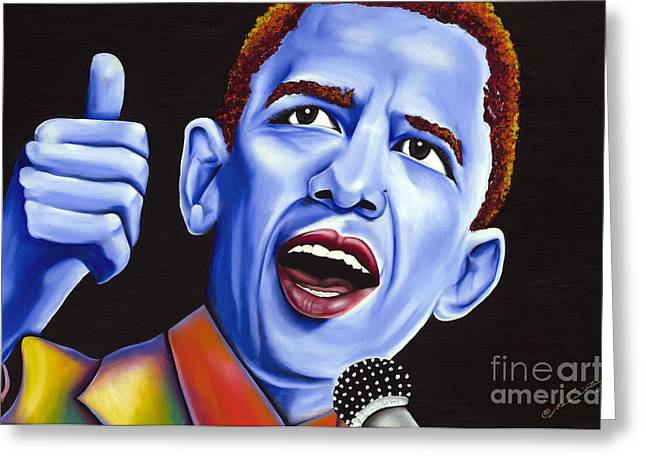 Blue Pop President Barack Obama Greeting Card by Nannette Harris