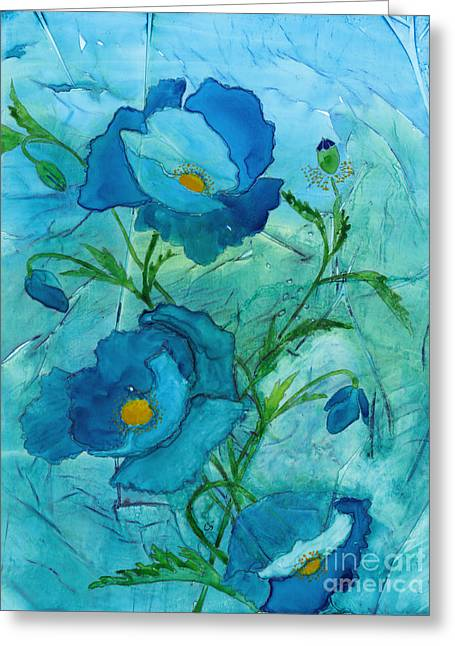 Blue Poppies, Watercolor On Yupo Greeting Card