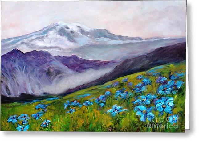 Blue Poppy Field Greeting Card