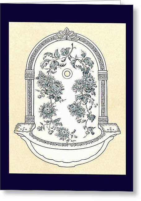 Blue Porcelain Wash Basin Two Greeting Card by Eric Kempson