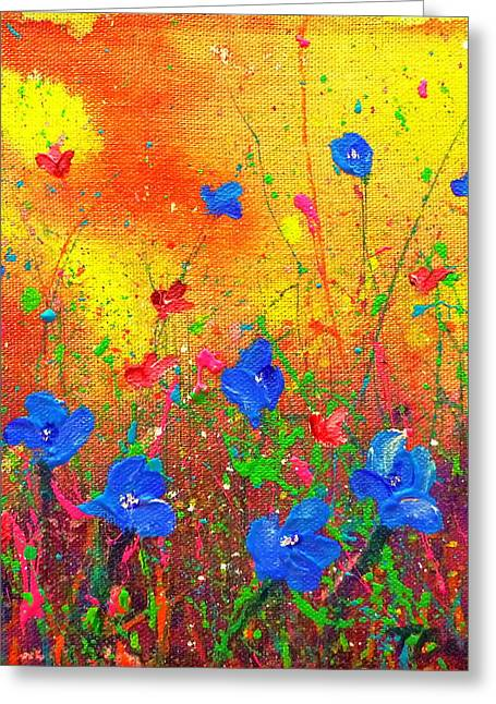 Greeting Card featuring the painting Blue Posies II by Tracy Bonin