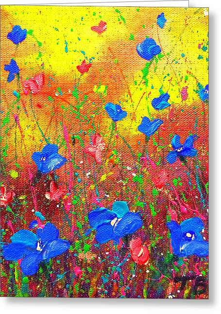 Greeting Card featuring the painting Blue Posies by Tracy Bonin