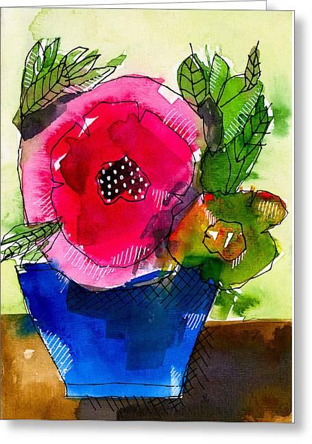 Blue Pot Pink Petals Greeting Card by Tonya Doughty