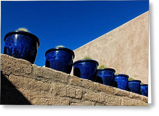 Blue Pottery On Wall Greeting Card by Lucinda Walter