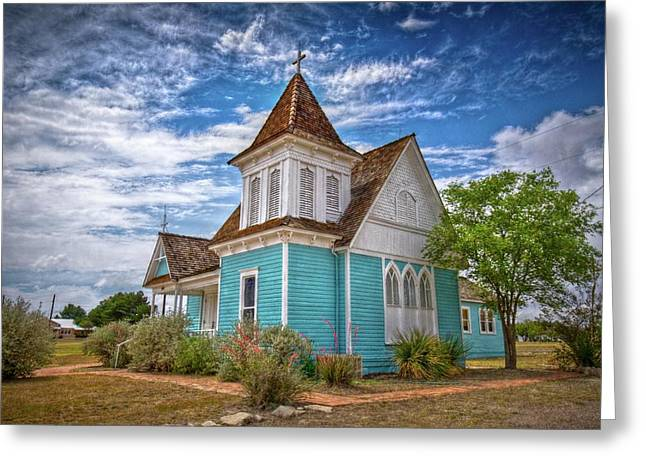 Blue Prairie Church Greeting Card by Linda Unger