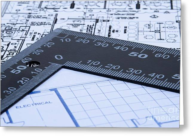 Blue Prints And Ruler Greeting Card