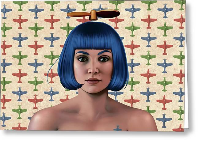 Blue Propeller Gal Greeting Card by Udo Linke