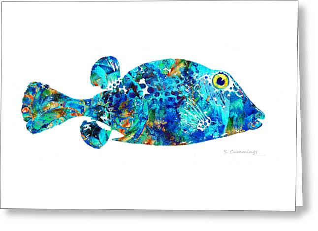 Blue Puffer Fish Art By Sharon Cummings Greeting Card