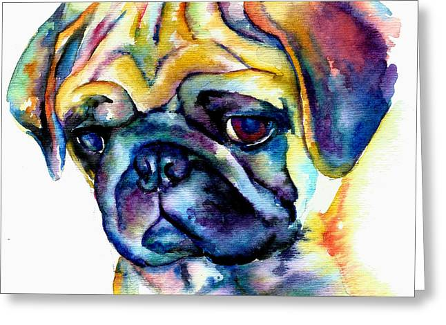 Blue Pug Greeting Card by Christy  Freeman