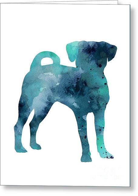 Blue Puggle Minimalist Painting Greeting Card by Joanna Szmerdt