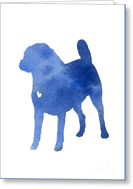 Blue Puggle Watercolor Painting Greeting Card by Joanna Szmerdt
