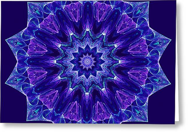Blue And Purple Mandala Fractal Greeting Card