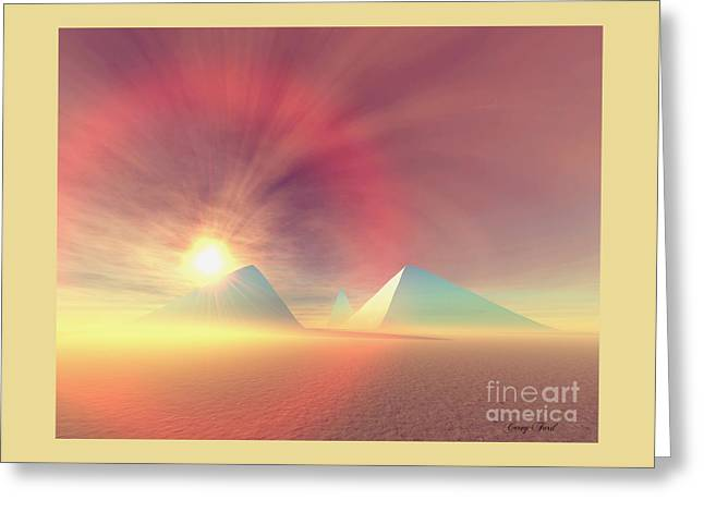 Blue Pyramids Greeting Card by Corey Ford