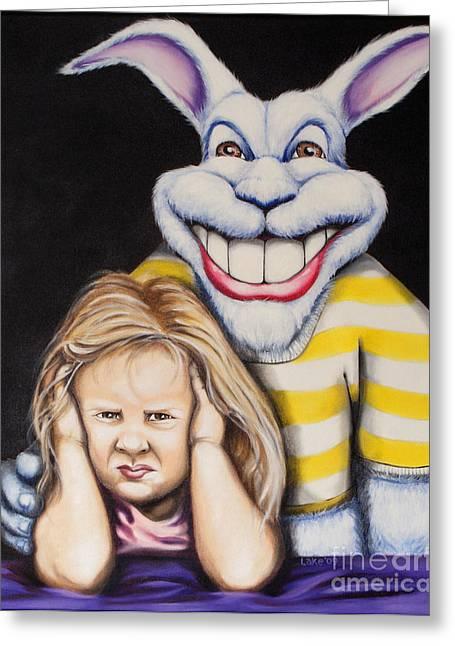 Blue Rabbit Greeting Card by Matthew Lake
